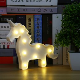 Wholesale 3d Sign Letters - Wholesale- Unicorn Shaped Animal Light Table Lamp 3D White Marquee Unicorn Sign Marquee Letter Nightlight Home Decoration Battery Operated