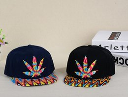 Wholesale Wide Brim Baseball Cap - Colour Cannabina maple leaf hat Ping hip hop along the hat man women maple leaf hip-hop dance baseball cap