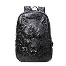 Wholesale Lighting Head Bag - 2017 new stylish backpacks 3D wolf head backpack special cool shoulder bags for teenage girls PU leather laptop school bags