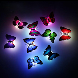 Wholesale Butterfly Christmas Lights - New arrival Beautiful Butterfly LED Night Light Lamp with Suction pad for Christmas Wedding Decoration Night Lamp S