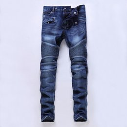 13a8da1ac8b54 Wholesale-Four seasons can wear High quality men s jeans Casual ripped  biker jeans men hiphop pants Straight jeans for men denim trousers men denim  pants ...