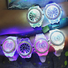 Wholesale Unisex Geneva Silicone - 10x Colorful Geneva fashion watches with LED light Wristwatches rubber unisex silicone quartz wrist hot sale Wristwatches Sports Watches