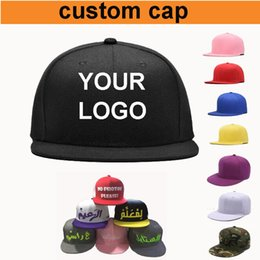 Wholesale Custom Flat Caps - Custom Baseball Caps Adjustable Flat Brimmed Hip Hop Snapbacks Hats Fitted Embroidery Printing Logo Adult Men Women Kids Size Available