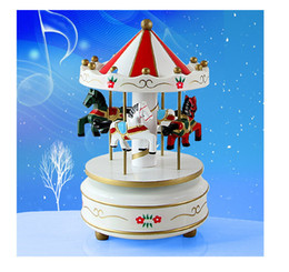 Wholesale Kids Carousel - 1PC New Vintage Wooden Merry-Go-Round Carousel Classic Music Box Kids Christmas Birthday Wedding Gift Toy Wood Crafts J0977