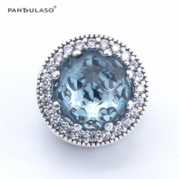 Wholesale Pandora Pink Heart Charms - Pandulaso Glacier Blue Radiant Hearts Beads for jewelry making Fits Pandora charms Bracelets Woman DIY Silver 925 Jewelry 2017 Summer
