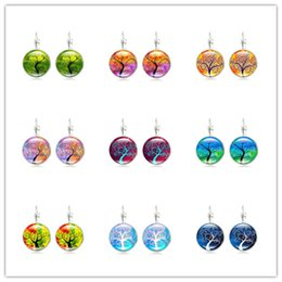 Wholesale Glass Cabochon Earrings - Hot!20Pair Brand New Jewelry with Silver Plated Glass Cabochon Tree of Life Pattern Clip Earring for Women Party Gift Mix Color