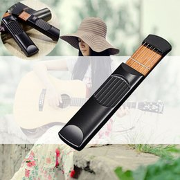 Wholesale guitar pocket - Wholesale-Portable Pocket Acoustic Mini Guitar Practice Tool Gadget Chord Trainer 6 String 6 Fret Model for Beginner B2C Shop