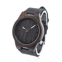 Wholesale Elegant Wooden - Elegant Design Men sports Watches Black Genuine Leather Quartz Watch Bamboo Print Dial Big Bang Watches SY-WD254