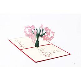 Wholesale Sakura Cards - Laser Cut Wedding Invitations 3D Cubic Sakura Pop UP Card Valentine's Day Greeting Cards free shipping