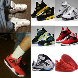 Wholesale Red Air Free - Free shipping High Quality Air Retro 4 Man Basketball Shoes White Cement Fire Red Fear Black Cat Mens Women Outdoor Sports Shoes USsize8-13
