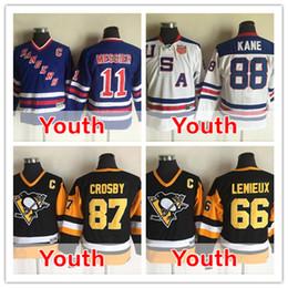 Wholesale Lemieux Ccm Jersey - 2016 Kid's Youth 66 Mario Lemieux 87 Sidney Crosby 11 Mark Messier 88 Patrick Kane Ice Hockey Jerseys CCM 100% Stitched S-XL