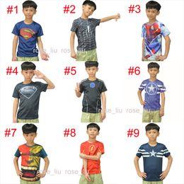 Wholesale Kids Sports Clothes Wholesale - 15 Style Kids Superhero 3D Short sleeved T-shirt Avengers Captain America Iron Man shirt sports quick dry T shirt children clothes B