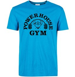 Wholesale Black House Letters - Powerhouse T shirt Gym training clothing Power house cool word tees Leisure unisex short sleeve gown Quality cotton Tshirt