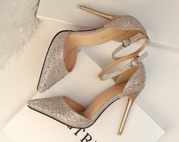 Wholesale Auger Pump - The new female sexy summer word buckle hollow out fine with pointed baotou set auger diamond ultra high heels