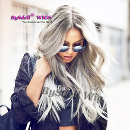 Wholesale Wig Gray Long - Synthetic Fiber Hair Adult Female Full Wig Dark Grey Ombre Shade Light Gray Color Wig Long Loose Curl Lace Front Wigs