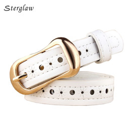 Wholesale Thin Belts For Dresses - Wholesale- luxury brand Hollow decorative belts for women thin Strap 2017 female fashion Slimming leather belt for dress Jeans riem F105