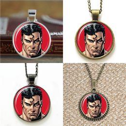 Wholesale Superman Bracelets - 10pcs Comic Superhero Superman ASD2 Pendant Necklace keyring bookmark cufflink earring bracelet
