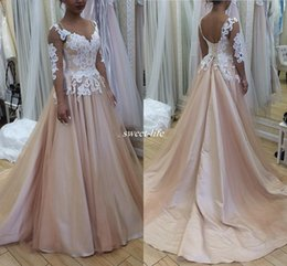Wholesale Champagne Aline Long Dresses - Newest Blush Country Wedding Dresses Sheer Neck 3 4 Long Sleeves Lace Tulle Satin Aline Wedding Gowns Backless Plus Size Bridal Dress 2017