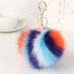 artificial rings women Promo Codes - Hot Sale Four-color Stitching Hair Ball Key Ring Key Holder Artificial Bag Fluffy Pendant Imitation Fox Fur Spot Plush Keychain