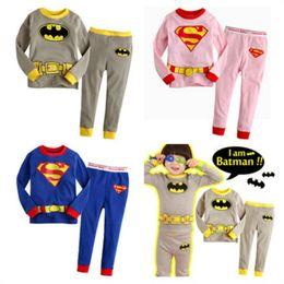 Wholesale Superhero Boys Shirts - Children Pajamas Sleeping Full Pants Shirts Suit Kids Clothes Long sleeve Baby Boys Girls Superhero Costumes Batman Suit Outfits gifts