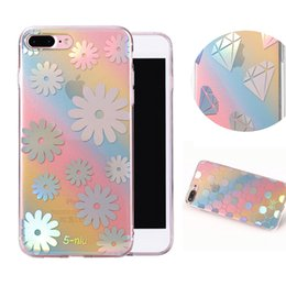 Wholesale Rainbow Iphone Covers - Diamond Rainbow Case With Lanyard Hole For iphone 7 6 6s plus Soft TPU Cover Opp Bag