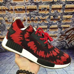 Wholesale Running Kicks - 2017 Cheap Original R1 NMD RUNNER PK Primeknit Mission Nice kicks Boost Spider-Man Sneaker Men & Women Lover red Running Sport Shoes 36-45