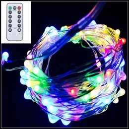 Wholesale Solar Lamp Controllers - 10M 100LED 8 mode Battery Operated IP65 Silver Copper Wire String Fairy Light Xmas Party Decor Lamp With Remote Controller 8 mode