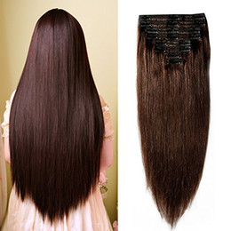 Wholesale Thick Remy Extensions - Double Weft Clip in Remy Human Hair Extensions 14''-24''150g 8pcs 18clips #2 Dark Brown Full Head Thick Long Soft Silky Straight Wave