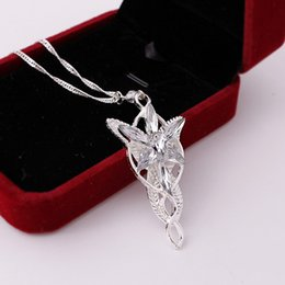 Wholesale Arwen Evenstar Silver - Wholesale- 2016 Wizard Princess Arwen Evenstar silver color Pendant Necklace Collares Evening Star Crystal Necklaces For Women