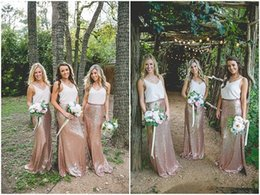 Wholesale Images Hot White Rose - Hot Sale 2017 Two Pieces Rose Gold Sequins Boho Bridesmaid Dresses Party Prom Gowns Vintage Country Wedding Party Dress