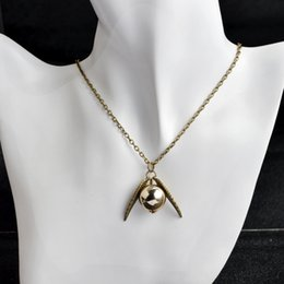Wholesale Harry Wings Necklace - New Fashion Vintage Woman Lady Silver antique Wing Harry Gold Golden Snitch Necklaces &Pendants The Deathly Hallows Snitch Gold Necklace