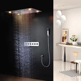 Wholesale 24 Inch Shower Head Led - Rainfall LED Rain Shower Head 24*30 Inch Ceiling Mounted Bathroom Shower Stainless Steel Rainfall LED Rain Shower 161222# 161225