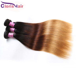 human hair extensions blonde highlights Promo Codes - Highlight Brown Blonde Ombre Straight Peruvian Hair 3 Bundles Colored 1B 4 27 Virgin Human Hair Weave Bulk Cheap Three Tone Extensions
