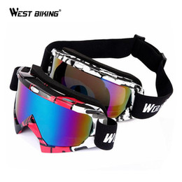 Wholesale Glass West - Wholesale- WEST BIKING Bicycle Goggle Women Men Anti Wind Dust Motorcycle Cycling Glasses Wind Mirrors Goggles Riding Double Ski Goggles