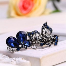 Wholesale Vintage Style Hair - 10 Styles Vintage Blue Wreath Hair Clip For Women Girls Crystal Crown Hair Pins Accessories Metal Barrette Hairpin Jewelry