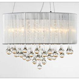 Moderna sala da pranzo in cristallo a sospensione sala da pranzo a soffitto lampada a sospensione Drawbench paralume in tessuto soggiorno lampadari decorati ciondoli camera da letto da gocce di cristallo moderno della lampada fornitori