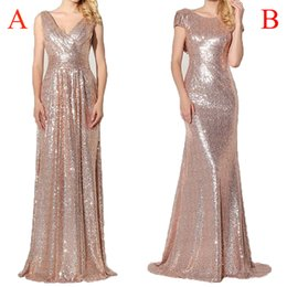 Wholesale Roses Ruffle Dress - Cheap Rose Gold Bridesmaid Dresses 2017 Sequined Long Sexy V neck Pleated Backless Formal Party Dresses Vestido De Festa Longo