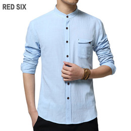Wholesale Decorated Collar Shirt - Wholesale- Plus size 4xl 5xl Spring autumn long sleeve linen cotton shirts High quality men business casual slim shirt Bag decorate F1415