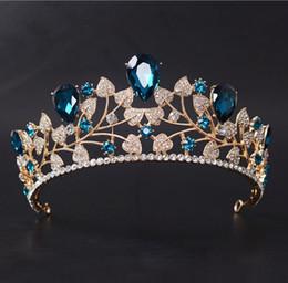 Wholesale Green Dinner Plates - Korean blue bride crown baroque head crown bride headdress hair ornaments stage show field dinner headdress jewelry wholesale