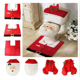 Wholesale Cheap Christmas Trees Decorations - Wholesale-Happy Santa Toilet Seat Cover Rug Bathroom Set Decor Christmas Decoration for home new year 2016 cheap Xmas product ornaments