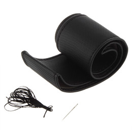 Wholesale Pu Steering Wheel - DIY PU leather Car Steering Wheel Cover case With Needles and Thread