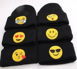 Wholesale Girls Autumn Apparel - New recommend baby kids newborn emoji hats winter warm woolen knitting caps beanies clothes apparel accessories for boys girls wholesale