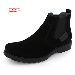 Wholesale Italian Ankle Boot - Wholesale-DYANMIC Martin Elastic Work Boots Spring And Autumn Italian Stylish Vintage Men PU Leather Boots Mens Brand Shoes Free Shipping