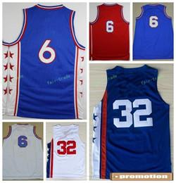 Wholesale Hot Dr - Hot 6 Dr J Julius Erving Jersey Men Sale Throwback 32 Julius Erving Basketball Jerseys For Sport Fans Team Red Blue White Color With Name
