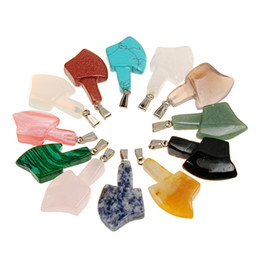 Wholesale Wholesale Hatchet Man - Natural Quartz Crystal Kartika Vajra Dorje Axe Stone Art Nepal Buddhist Jewelry Large Hatchet Mixed Sodalite Turquoise Gem Men Charm Pendant
