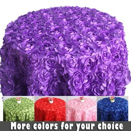 Wholesale White Table Cloth Round - Wholesale-3D rose flower white round table cloths for weddings