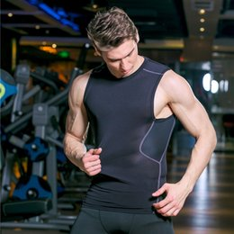 Wholesale Tight Sports Undershirts - Men Running Vest O Neck Quick Dry Fitness Sleeveless Compression Tight Top 2017 Workout Undershirt Sport Man Breathable Shirts