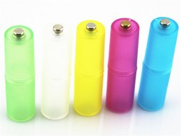 Wholesale Aa Battery Converter - ASD011 AAA to AA Size Cell Battery Converter Adaptor Adapter Case Translucent AAA to AA Size Battery Adaptor Holder Case Shell Cover