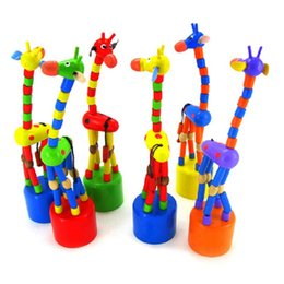Wholesale Dancing Giraffe Toys - Wholesale-2016 New Arrival Baby Kids Wooden Toys Developmental Dancing Standing Rocking Giraffe Handcrafted Toy children Gifts