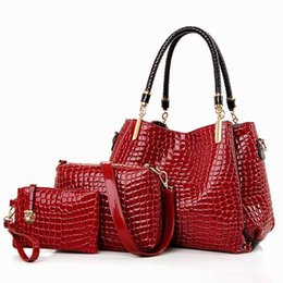 Wholesale Cheap Small Envelopes - Free Shipping womens fashion corcodile Patent PU shoulder bag ladies square classic handbg quality Cheap prices New Print bag 529204979212